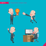 Set of drawing flat character style, business concept ceo activities - victory award, flying, good, calling Royalty Free Stock Images