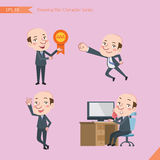 Set of drawing flat character style, business concept ceo activities - victory award, flying, good, calling Stock Photos