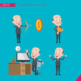 Set of drawing flat character style, business concept ceo activities. Victory, hit, no problem, management, start Royalty Free Stock Photos