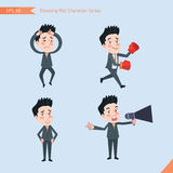 Set of drawing flat character style, business concept handsome office worker activities - Disappointment, notice, boxing, confiden Stock Image