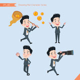 Set of drawing flat character style, business concept handsome office worker activities - funding, ability, counsel, finding.  Royalty Free Stock Photos