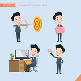 Set of drawing flat character style, business concept handsome office worker activities - hit, piggy bank, Consulting, farewell Stock Photography