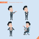 Set of drawing flat character style, business concept handsome office worker activities - introducing, confidence, office worker,. Communications Stock Photo
