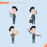 Set of drawing flat character style, business concept handsome office worker activities - introducing, greeting, master key, globa Royalty Free Stock Photos