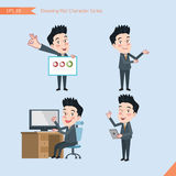 Set of drawing flat character style, business concept handsome office worker activities - presentation, ok sign, troubleshooter Royalty Free Stock Images