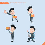 Set of drawing flat character style, business concept handsome office worker activities - tablet device, flying, explain, counsel.  Royalty Free Stock Photography