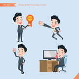 Set of drawing flat character style, business concept handsome office worker activities. Victory award, flying, good, calling Royalty Free Stock Photo