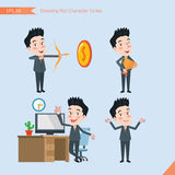 Set of drawing flat character style, business concept handsome office worker activities - victory, hit, no problem, management, st Stock Photography