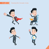 Set of drawing flat character style, business concept handsome offiece worker activities - business hero, Question, time managemen Stock Image