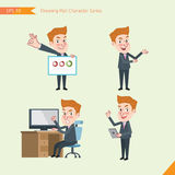 Set of drawing flat character style, business concept yong office worker activities Stock Photo