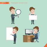 Set of drawing flat character style, business concept young office worker activities - banner, whiteboard, computing Royalty Free Stock Photography