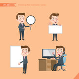 Set of drawing flat character style, business concept young office worker activities. Banner, whiteboard, computing, telemarketing, introduction Stock Photo