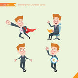 Set of drawing flat character style, business concept young office worker activities - business hero, Question, time management, K. Nowledge Stock Image