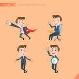 Set of drawing flat character style, business concept young office worker activities - business hero, Question, time management, K. Nowledge Stock Images
