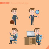 Set of drawing flat character style, business concept young office worker activities. Businessman, research, office worker, counsel Royalty Free Stock Photo