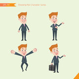Set of drawing flat character style, business concept young office worker activities. Businessman, research, office worker, counselling, growth Stock Images