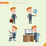 Set of drawing flat character style, business concept young office worker activities. Businessman, research, office worker, counselling Royalty Free Stock Photos