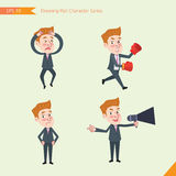 Set of drawing flat character style, business concept young office worker activities - Disappointment, notice, boxing, confidence, Royalty Free Stock Photo