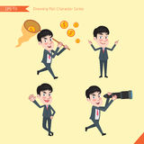 Set of drawing flat character style, business concept young office worker activities. Funding, ability, counsel, finding Stock Images