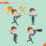 Set of drawing flat character style, business concept young office worker activities - funding, ability, counsel, finding.  Royalty Free Stock Images