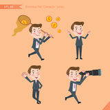 Set of drawing flat character style, business concept young office worker activities. Funding, ability, counsel, finding Royalty Free Stock Image