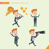 Set of drawing flat character style, business concept young office worker activities. Funding, ability, counsel, finding Royalty Free Stock Photography