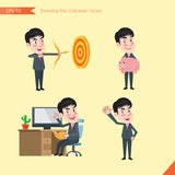 Set of drawing flat character style, business concept young office worker activities - Royalty Free Stock Photo