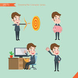 Set of drawing flat character style, business concept young office worker activities. Hit, piggy bank, Consulting, farewell Stock Photos