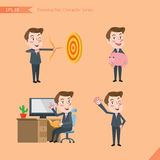 Set of drawing flat character style, business concept young office worker activities  Royalty Free Stock Images