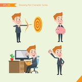 Set of drawing flat character style, business concept young office worker activities - hit, piggy bank, Consulting, farewell Royalty Free Stock Photography