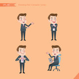 Set of drawing flat character style, business concept young office worker activities. Introducing, confidence, office worker, communications Stock Photography