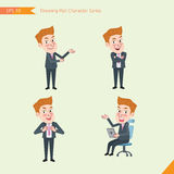 Set of drawing flat character style, business concept young office worker activities. Introducing, confidence, office worker, communications Royalty Free Stock Photos