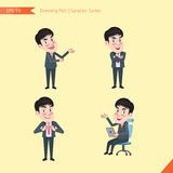 Set of drawing flat character style, business concept young office worker activities - introducing, confidence, office worker, com Royalty Free Stock Image