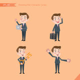 Set of drawing flat character style, business concept young office worker activities. Introducing, greeting, masterkey, global business Stock Images