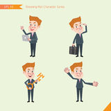 Set of drawing flat character style, business concept young office worker activities. Introducing, greeting, masterkey, global business Royalty Free Stock Photo