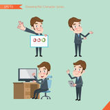 Set of drawing flat character style, business concept young office worker activities - Royalty Free Stock Image