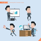 Set of drawing flat character style, business concept young office worker activities - presentation, Surprised, ok sign, troublesh Stock Photos