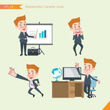 Set of drawing flat character style, business concept young office worker activities. Presentation, Surprised, ok sign, troubleshooter Stock Photography