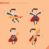 Set of drawing flat character style, business concept young office worker activities - rising, hero, solve problem, master key Stock Images