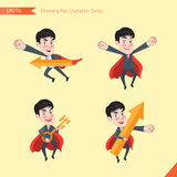 Set of drawing flat character style, business concept young office worker activities - rising, hero, solve problem, master key Stock Photos