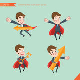 Set of drawing flat character style, business concept young office worker activities. Rising, hero, solve problem, master key Royalty Free Stock Photo