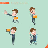 Set of drawing flat character style, business concept young office worker activities Stock Images