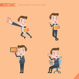 Set of drawing flat character style, business concept young office worker activities Stock Photo
