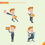 Set of drawing flat character style, business concept young office worker activities - tablet device, flying, explain, counsel.  Royalty Free Stock Image