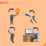 Set of drawing flat character style, business concept young office worker activities. Victory award, flying, good, calling Stock Image