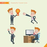 Set of drawing flat character style, business concept young office worker activities. Victory award, flying, good, calling Stock Photos