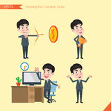 Set of drawing flat character style, business concept young office worker activities  Royalty Free Stock Photography