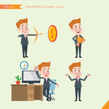 Set of drawing flat character style, business concept young office worker activities - victory, hit, no problem, management, start Royalty Free Stock Image