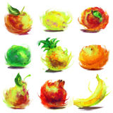 Set of drawing fruit. Set of isolated fruit - drawn by oil paints Royalty Free Stock Photos