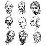 Set of drawing heads Stock Images